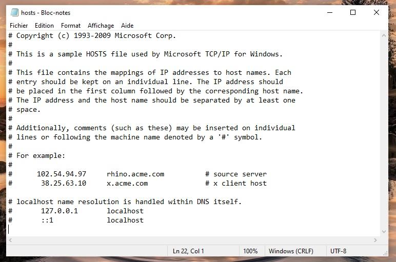 Le fichier Host ouvert dans l'outil bloc-notes